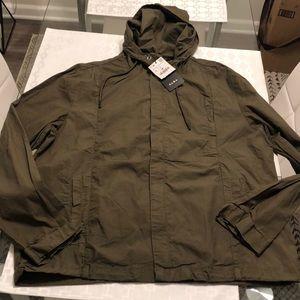 New Men's Zara Hooded Cargo Jacket Large